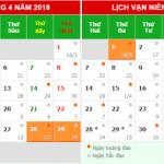 Lịch nghĩ Lễ 30/4 và 1/5 năm 2018