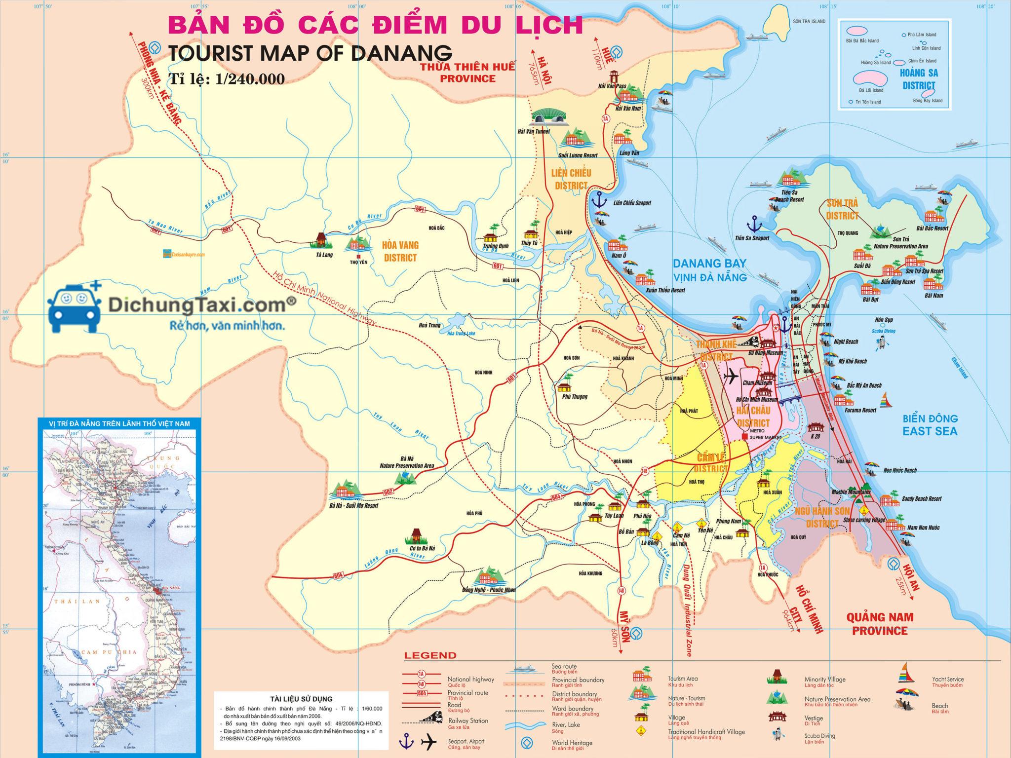 Bản đồ các địa điểm du lịch Đà Nẵng - hinh 2