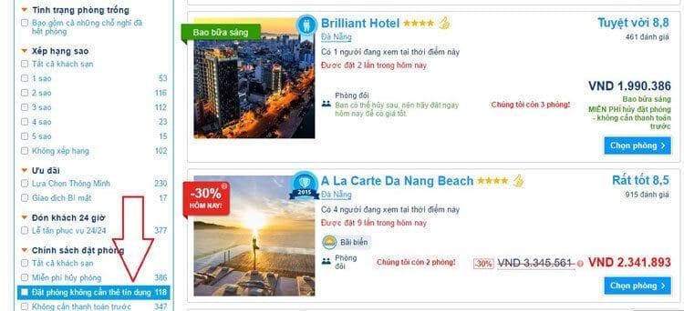 Đặt phòng khách sạn không cần thẻ tín dụng ở Booking.com