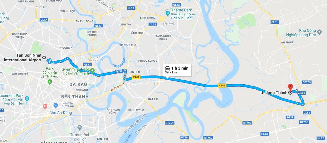 Bản đồ đường đi long thành