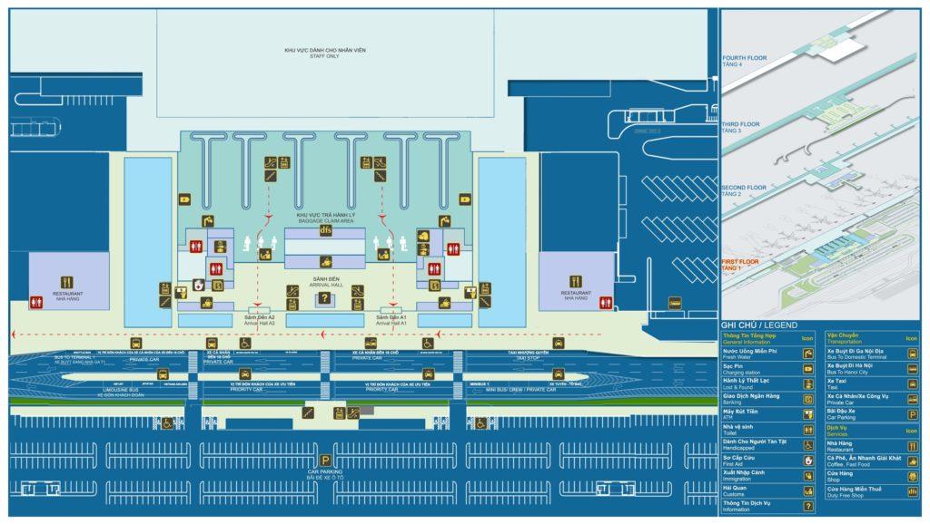 Sơ đồ nhà ga hành khách Quốc Tế (T2) - tang 1