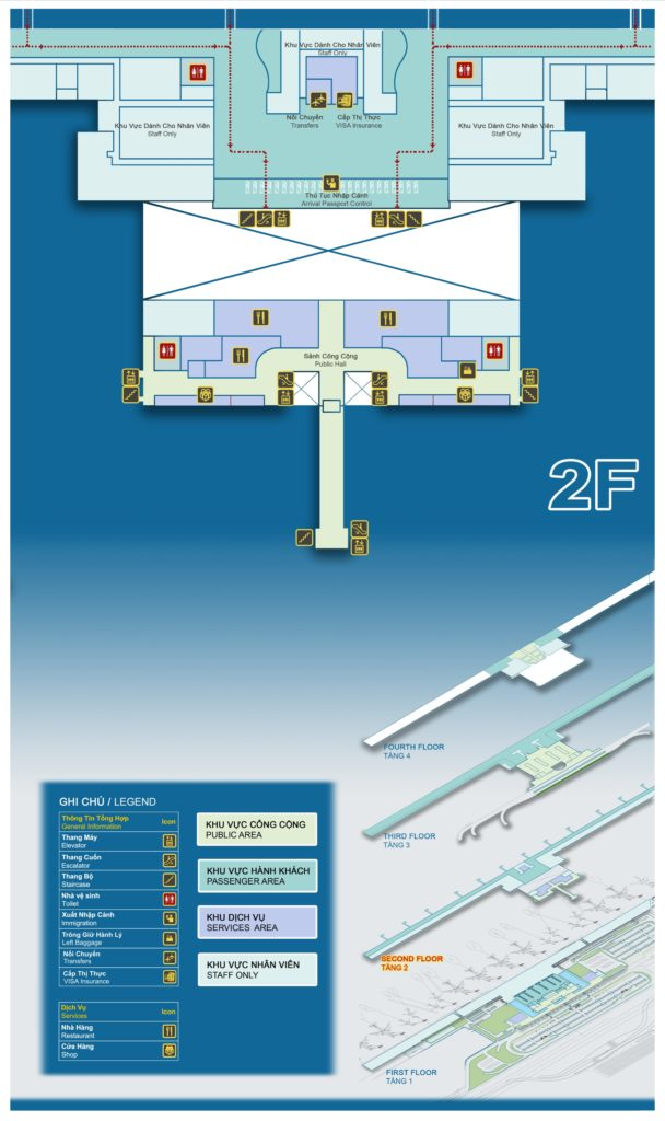 Sơ đồ nhà ga hành khách Quốc Tế (T2) - tang 2
