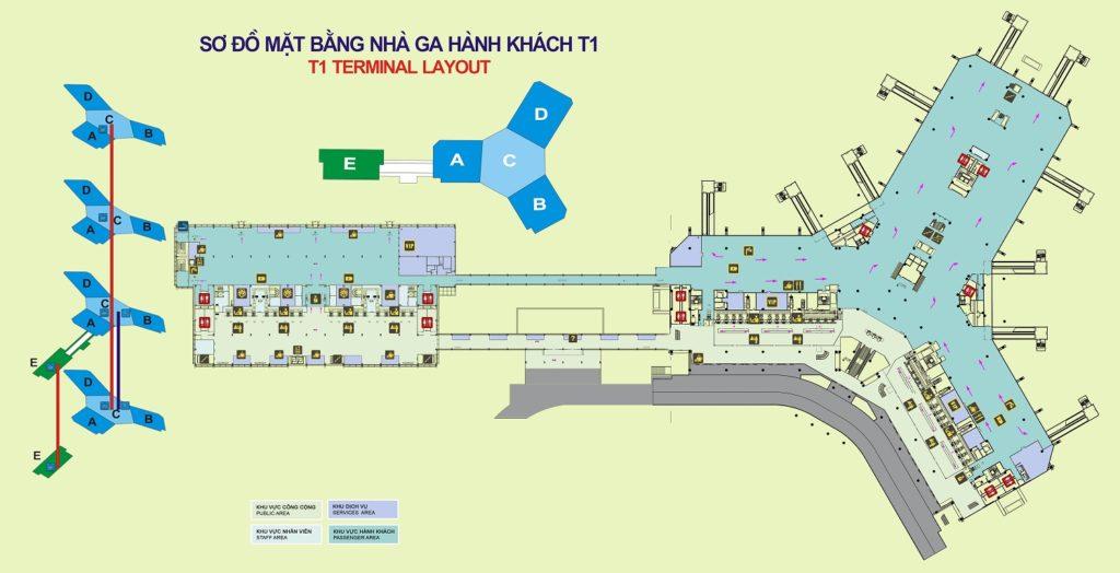 Sơ đồ nhà ga hành khách Quốc Nội - Nội Bài (T1) - hinh 2