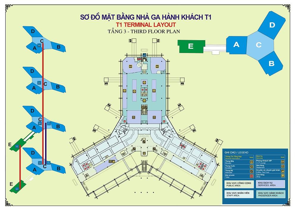 Sơ đồ nhà ga hành khách Quốc Nội - Nội Bài (T1) - hinh 1